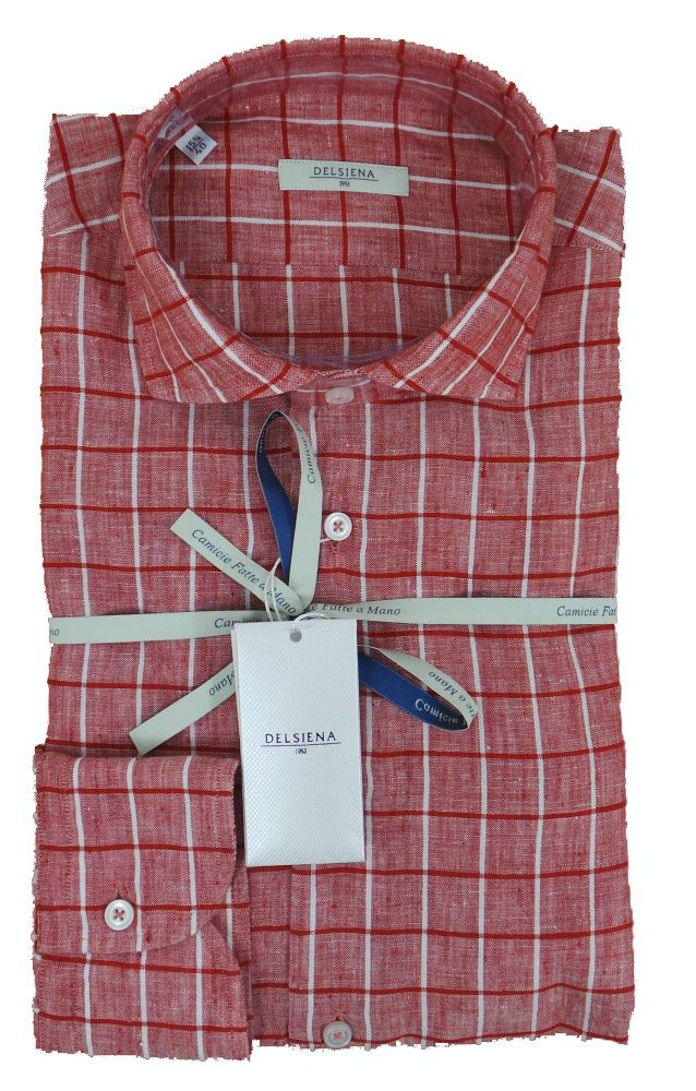 Delsiena 2870 30 - Rose White Check Linen Shirt - £85 with FREE UK Delivery #Shirts #Mens #Delsiena