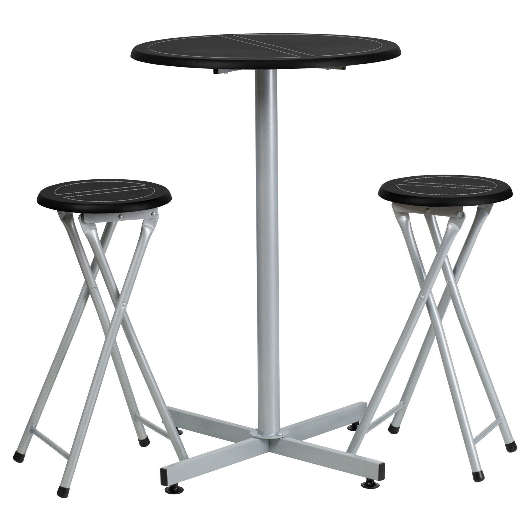 Flash Furniture 24 in Round Bar Height Table Set with 2 Folding