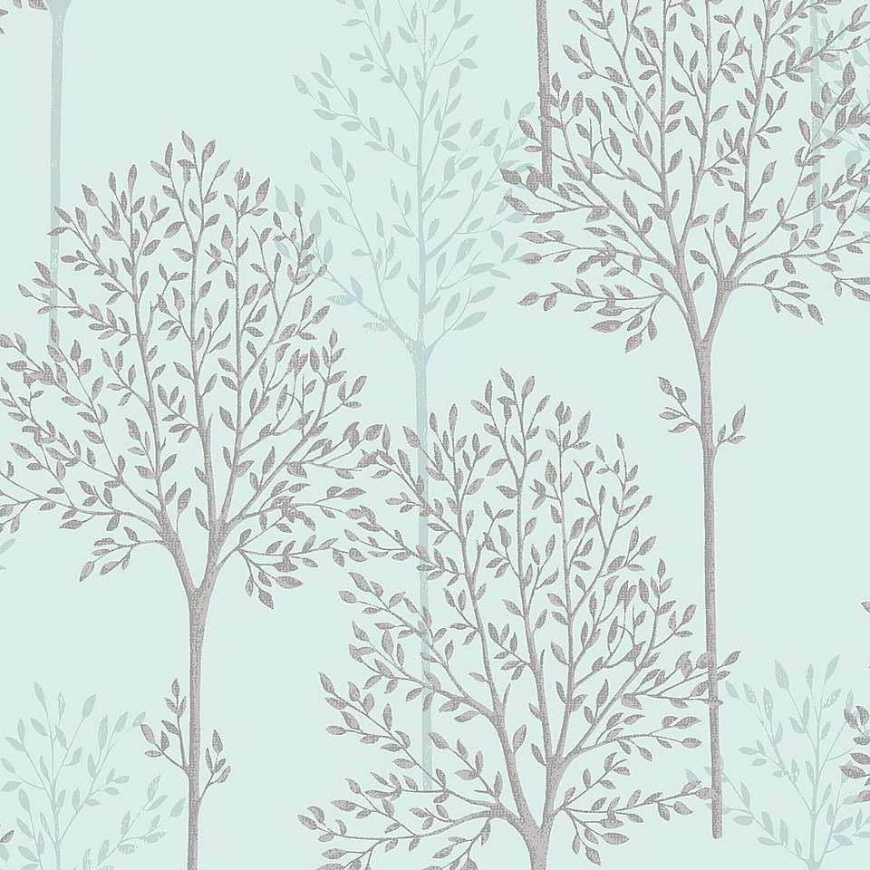 Duck egg spriggy trees wallpaper egg wallpaper and tree for Grey and duck egg blue kitchen