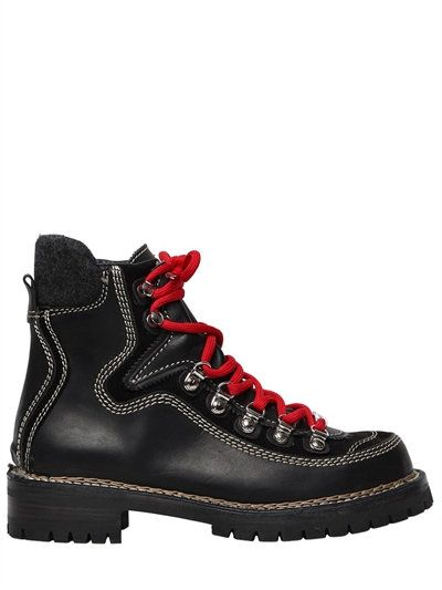 DSQUARED2 40Mm Canada Leather Hiking Boots, Black. #dsquared2 #shoes #boots