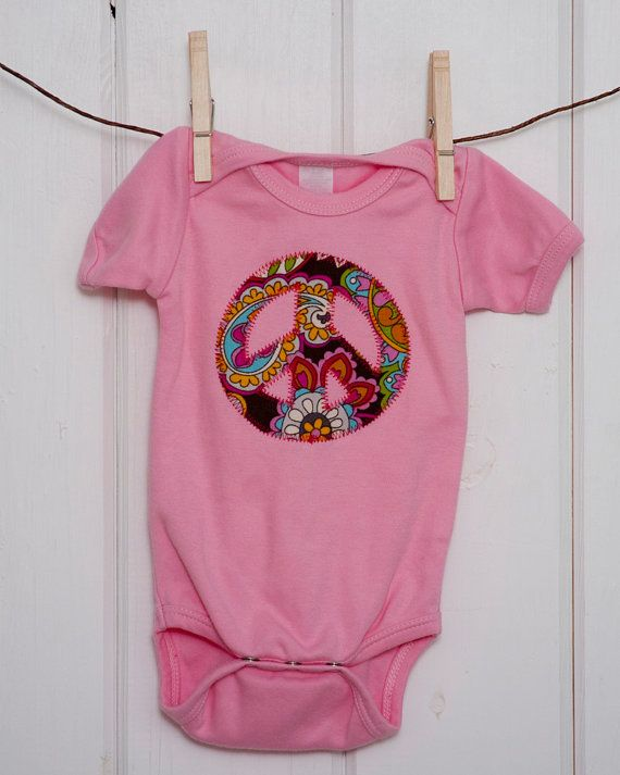 Baby Girls Clothing Girls Pink Peace Sign Onesie Size 12 18