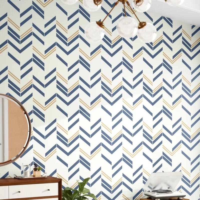 Timm Chevron And Herringbone 16 5 L X 20 5 W Peel And Stick Wallpaper Roll In 2021 Peel And Stick Wallpaper Wallpaper Roll Herringbone Wallpaper