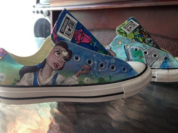 5dd16f73b260 Disney Themed Shoes Beauty and the Beast by ChewyTs on Etsy Disney Converse