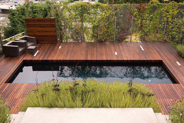 Residential Landscape Design West Vancouver #ipe #deck #black #pool ...