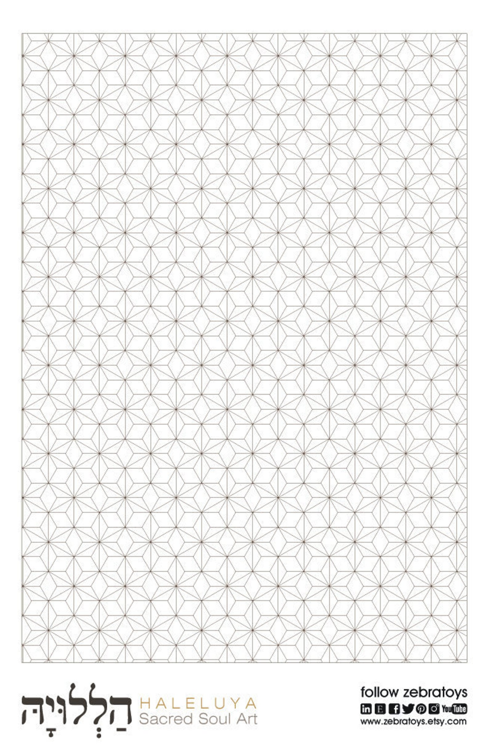 Stress Relief Coloring Page-Stars Pattern Sheet-Color