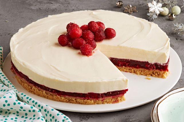 gâteau au fromage aux canneberges et au chocolat blanc sans