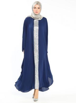 Navy Blue - Lamé - Silver tone - Crew neck - Unlined - Dresses - Filizzade