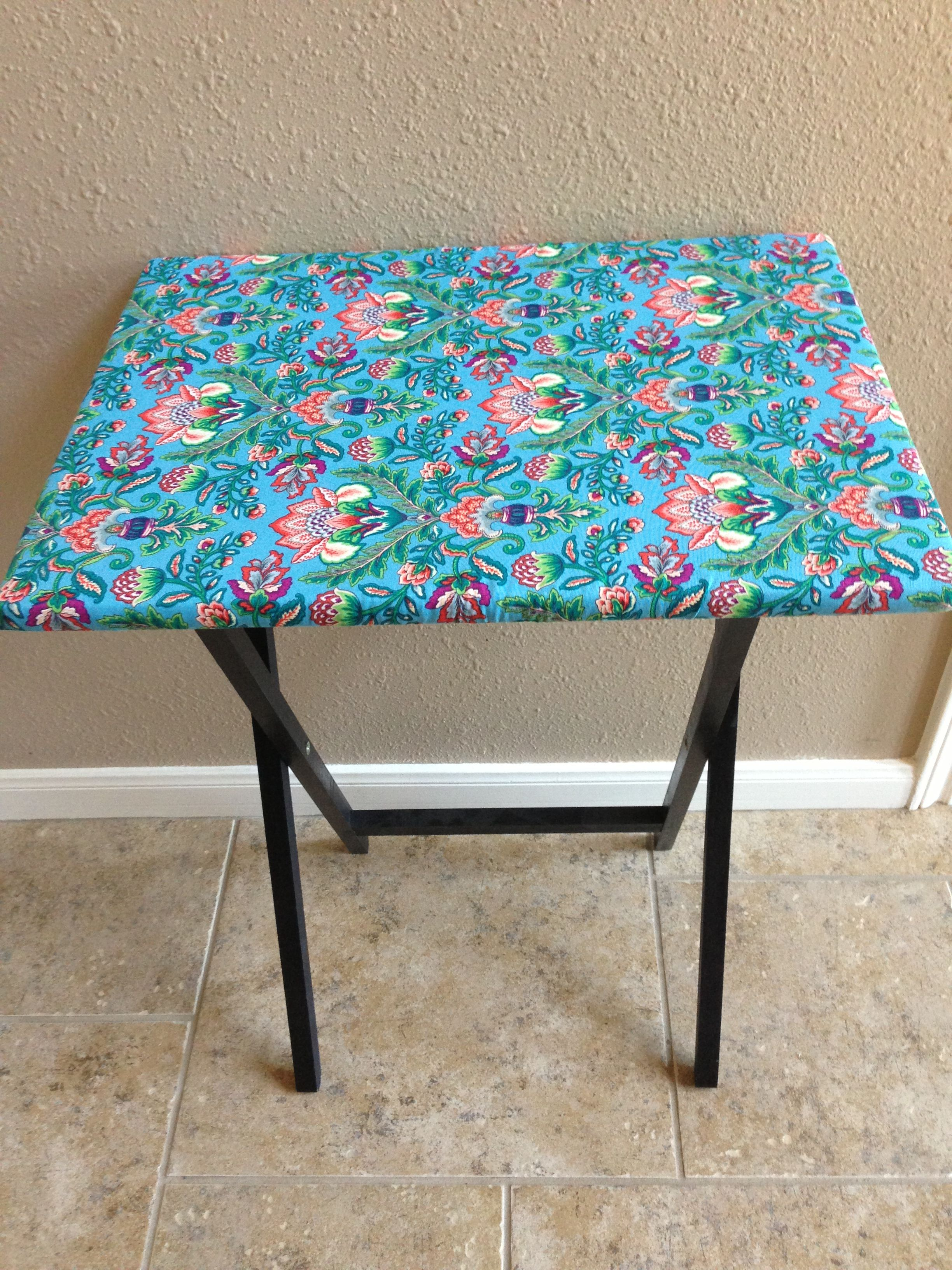 diy ironing board cover a tv tray with a pre made ironing board cover fold and staple then cut. Black Bedroom Furniture Sets. Home Design Ideas