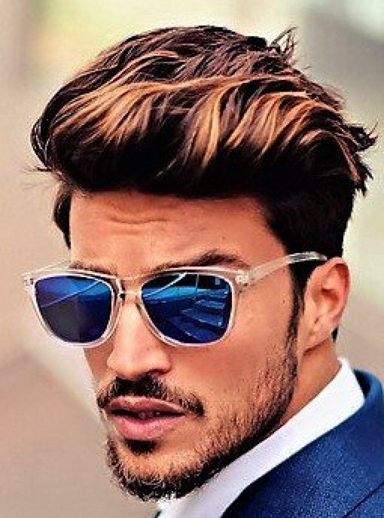Brushed Up Hairstyle Men Short Hair Highlighted Men Hair Highlights Men Hair Color Highlights Men Haircut Styles