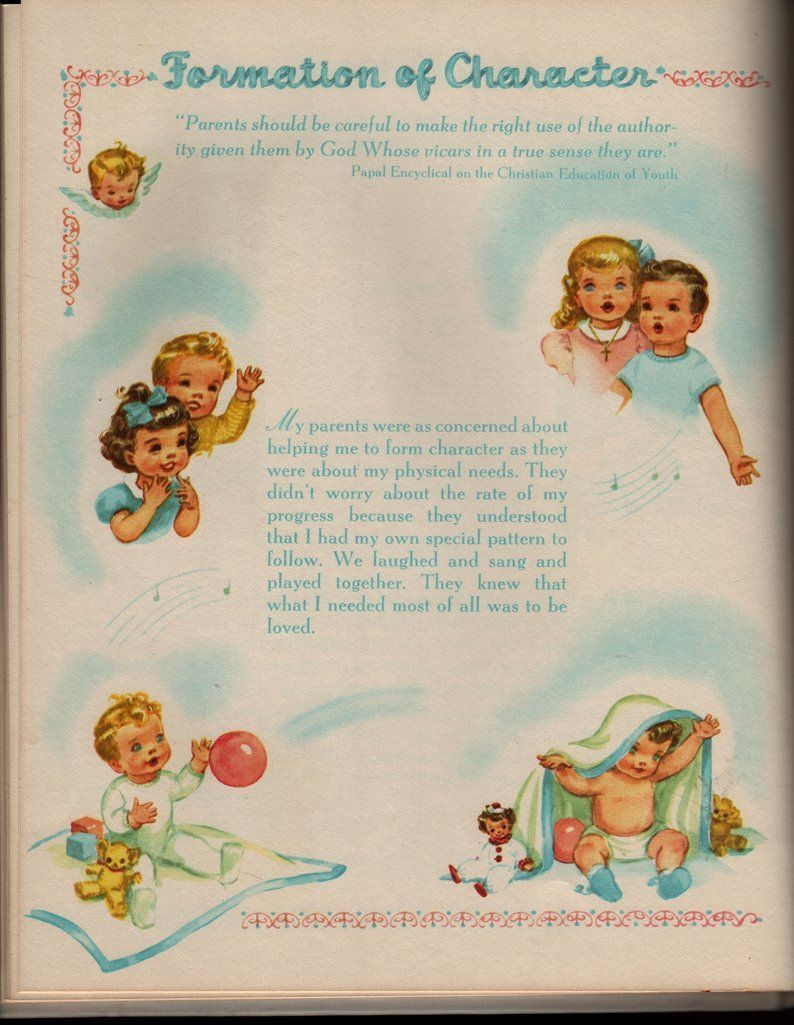Unto Us A Child Is Given + A Catholic Baby Record Book + Mary W. Stromwell + Beatrice Ryan + Artists & Writers Guild + 1952 + Vintage Book #babyrecordbook Unto Us A Child Is Given + A Catholic Baby Record Book   Written by Mary W. Stromwell   Illustrated by Beatrice Ryan   Artists and Writers Guild Inc., 1952   28 Pp.   Hardcover   Beautiful baby book in gift box. Cover is lovely taffeta. #babyrecordbook Unto Us A Child Is Given + A Catholic Baby Record Book + Mary W. Stromwell + Beatrice Ryan + #babyrecordbook