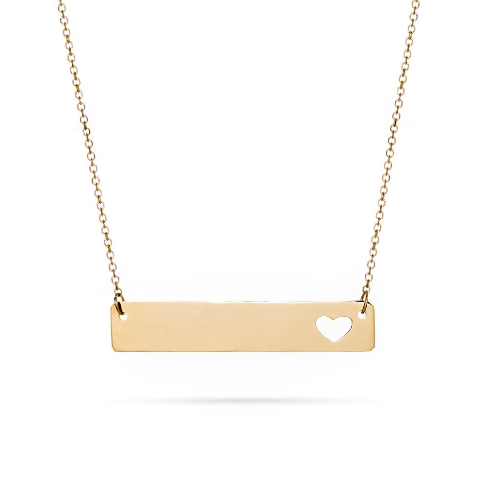 14k gold bar cut out heart nameplate necklace gold nameplate engrave your name on a 14k gold namebar this 14k gold nameplate necklace is unique aloadofball Images