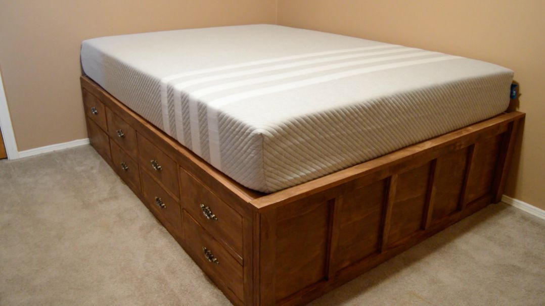 Diy Queen Bed Frame With Drawer Storage Platform Bed With