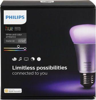 Komplet Philips Hue E27 Color startpakke - Kom igang med at lave dit helt eget unikke belysning i hjemmet med Philips Hue startpakken.