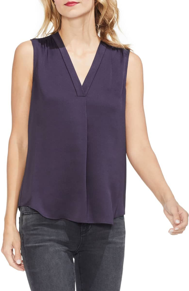 480f0bffb37aff Sleeveless Rumple Blouse, Main, color, GILDED PLUM | Work Clothes I ...
