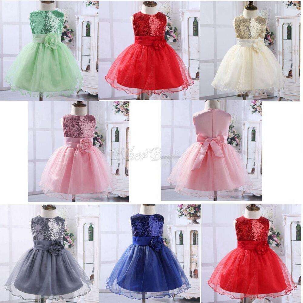 Kid Baby Flower Girls Party Sequins Dress Tutu Formal Wedding Bridesmaid Dresses