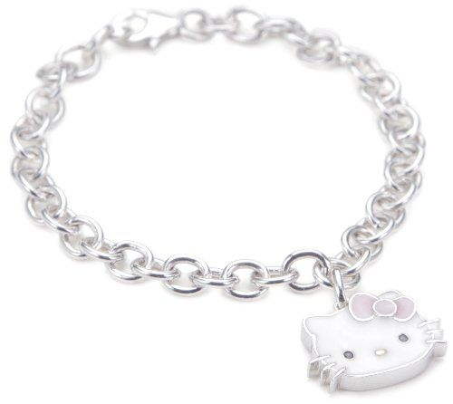 a1a135dd1 Hello Kitty Pink Enamel Bow and Sterling Silver Charm Bracelet,7