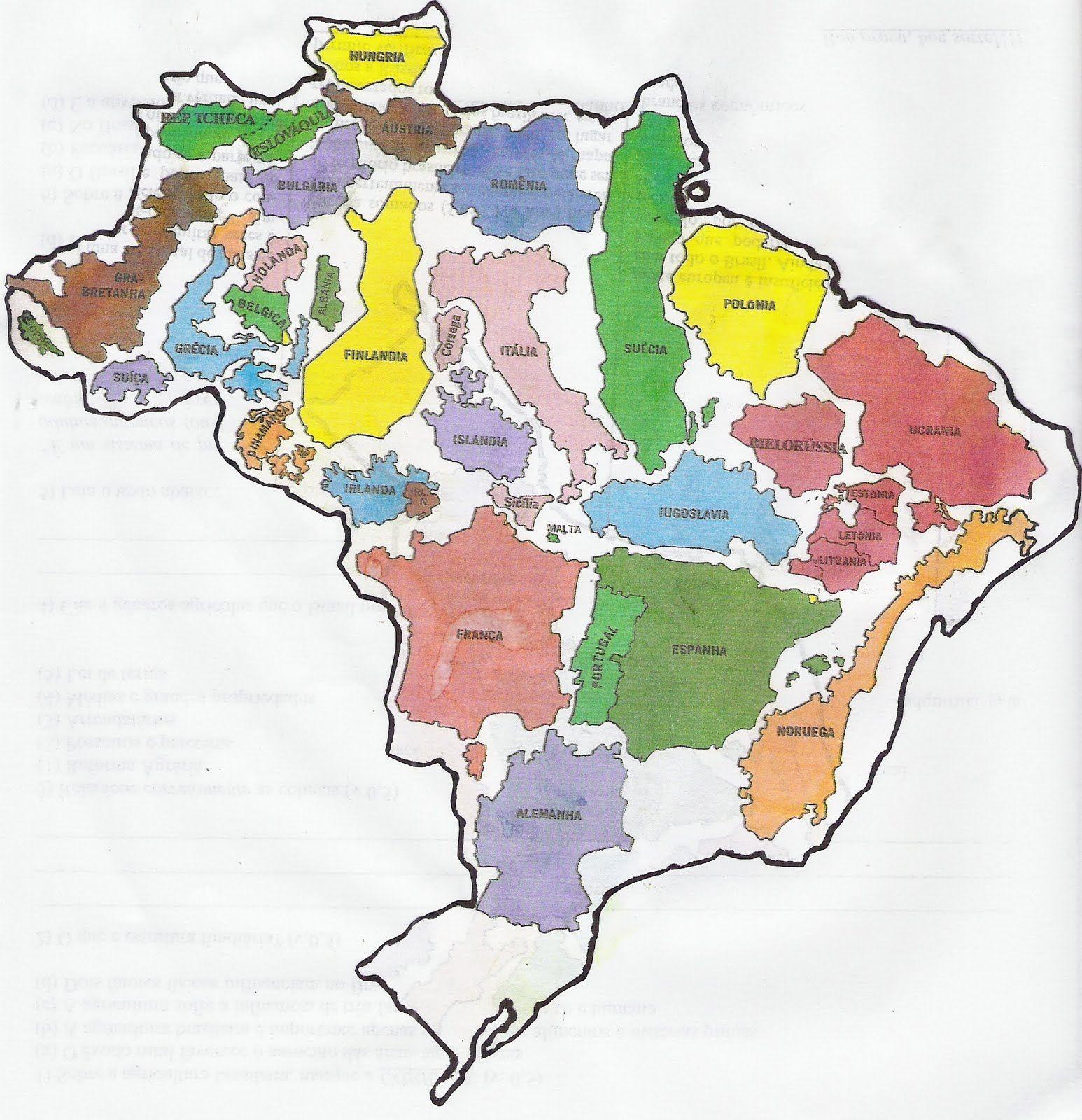 A Europa Cabe No Brasil Mapa Brasil Cartografia Mapas