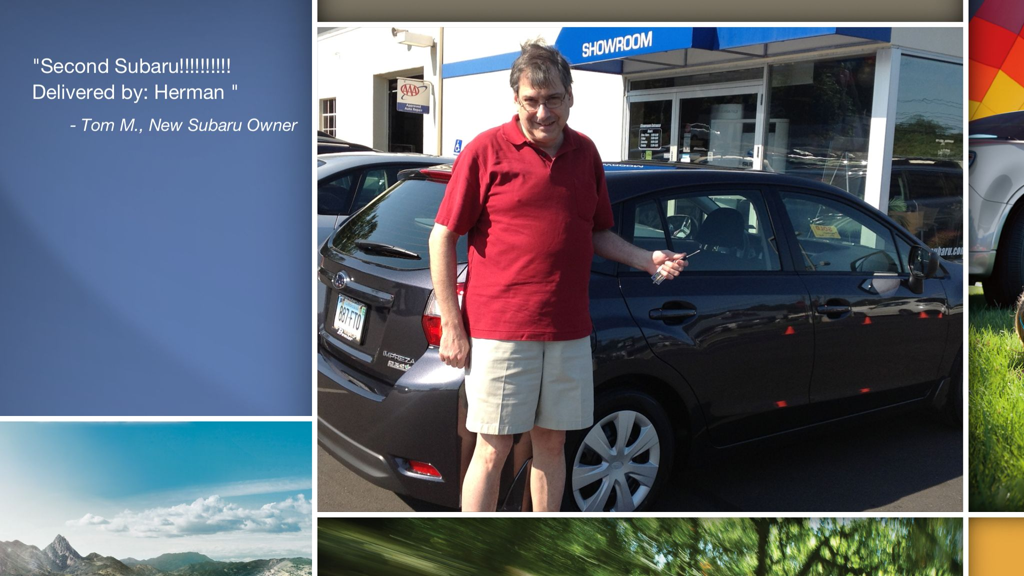 Congratulations Tom Malchodi!  A heartfelt thank you for the purchase of your new Subaru from all of us at Premier Subaru.   We're proud to have you as part of the Subaru Family.