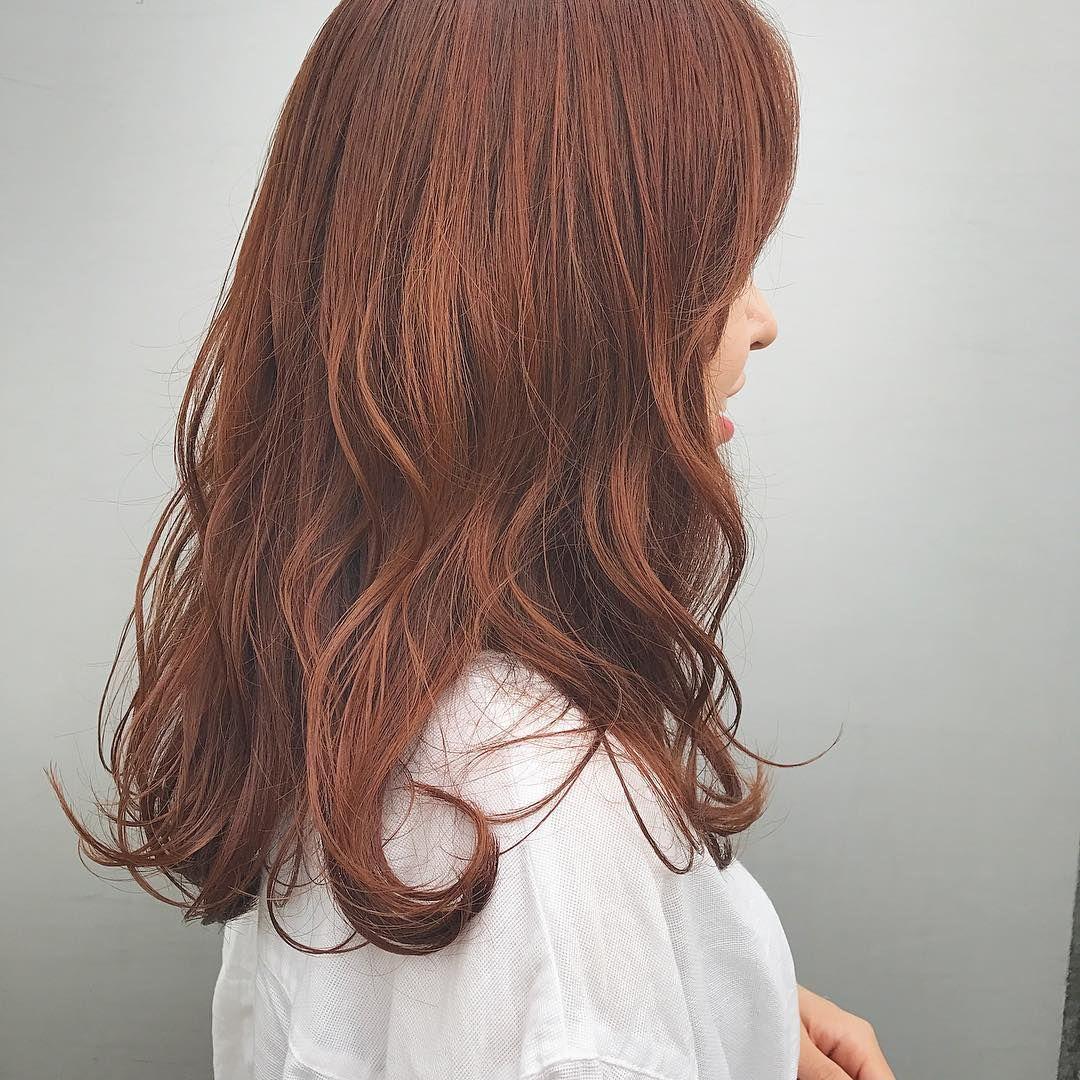 アプリコットオレンジ 髪 色 髪色 オレンジ ヘアスタイリング