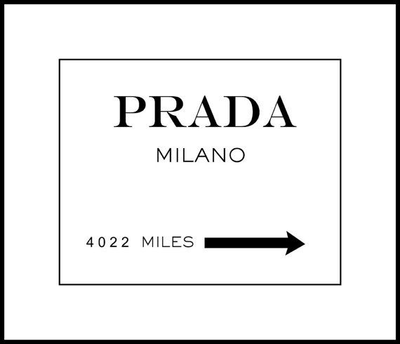 Prada Milano Typography Print 8x10 With 11x14 Mat By Paperbleu 21 00 Typography Art Print Typography Prints Typography Art