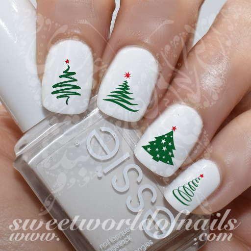 Christmas Nail Art Christmas Tree Water Decals Slides Tree Nail Art Christmas Nail Designs Christmas Tree Nail Art