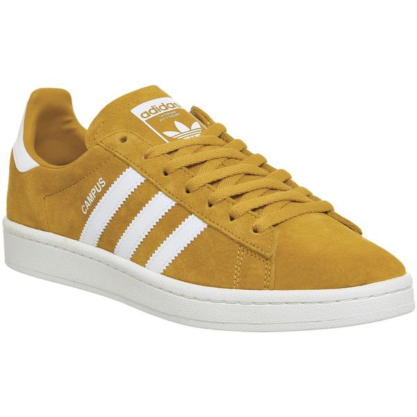 Adidas Campus Trainers Tactile Yellow White 93  liked on Polyvore featuring shoes