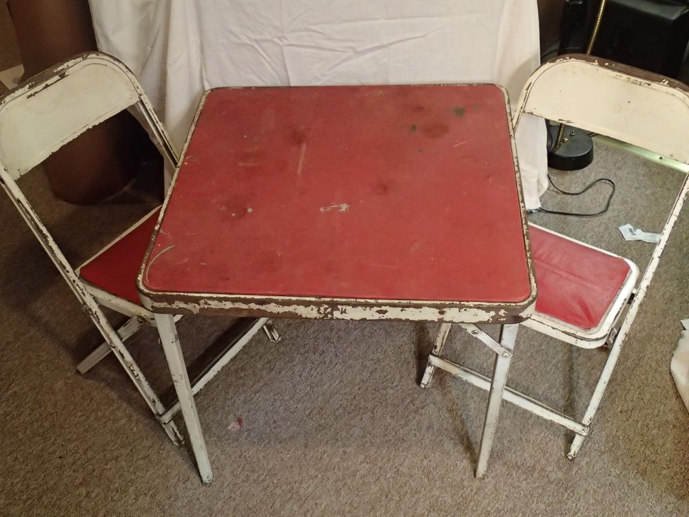 Vintage Metal Child S Folding Table 2 Chairs Awesome Antique Condition Card Table And Chairs Table And Chairs Kids Folding Table
