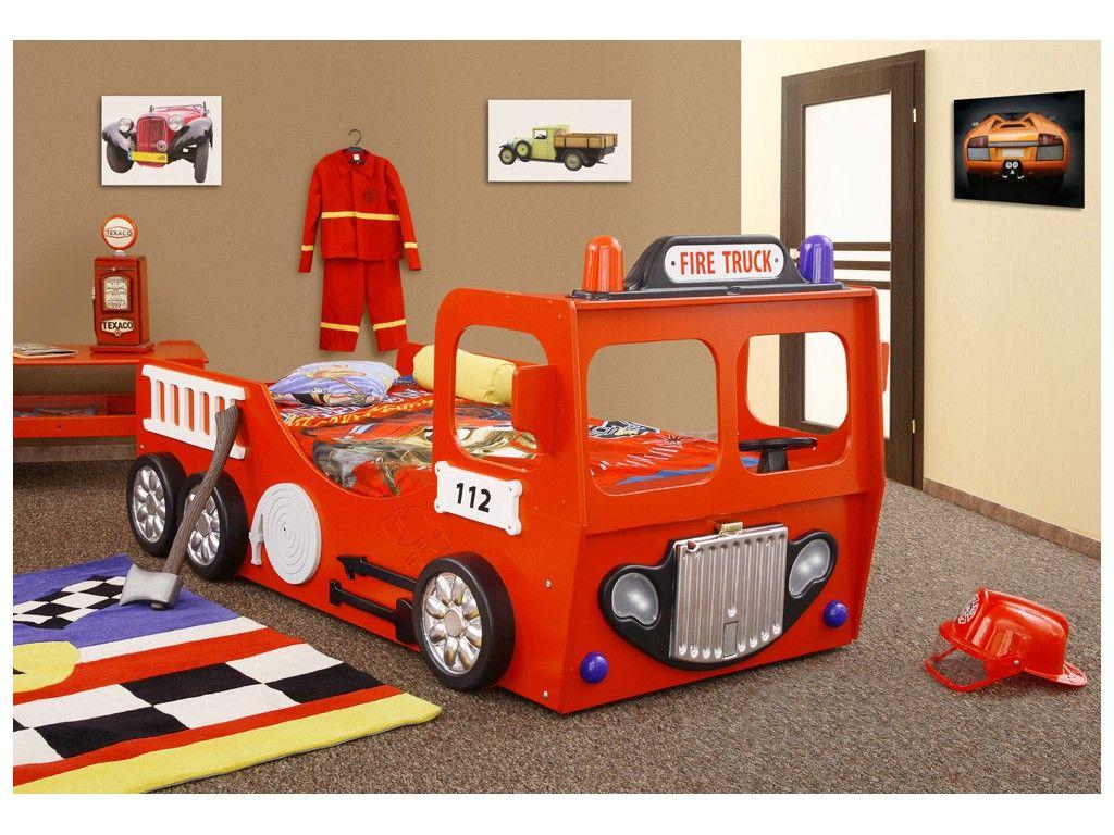 Lit camion de pompier simple maison pinterest - Chambre garcon pompier ...