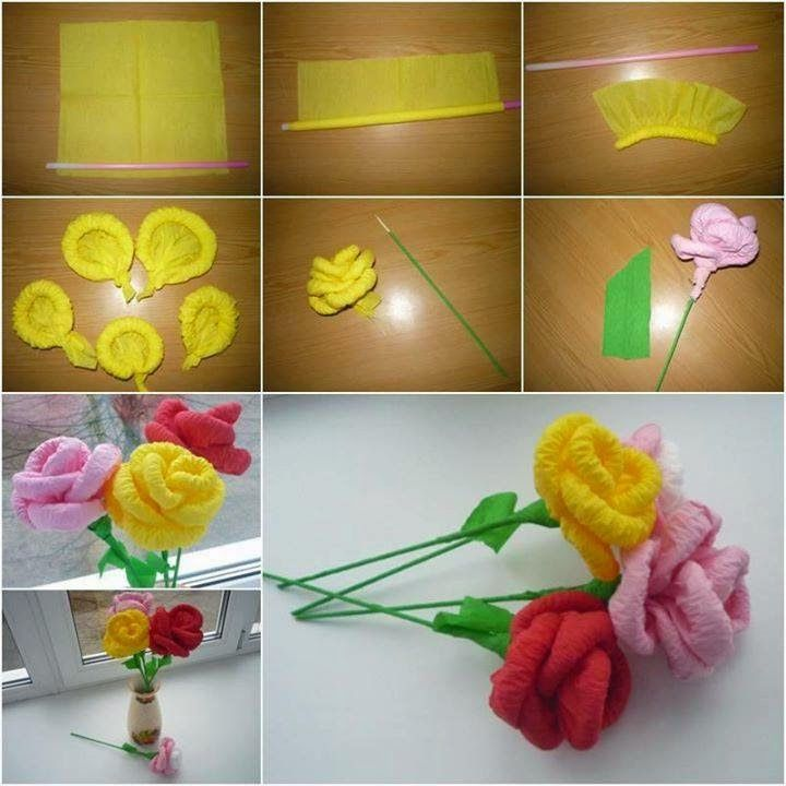 Free Step By Step Flower Making Tutorial Crape Paper Rose Paper Flowers Craft Paper Flowers Diy Paper Flowers