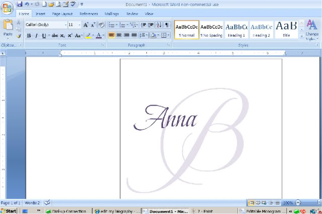 Photo via Microsoft word, Microsoft and Monograms - how to make invitations on word