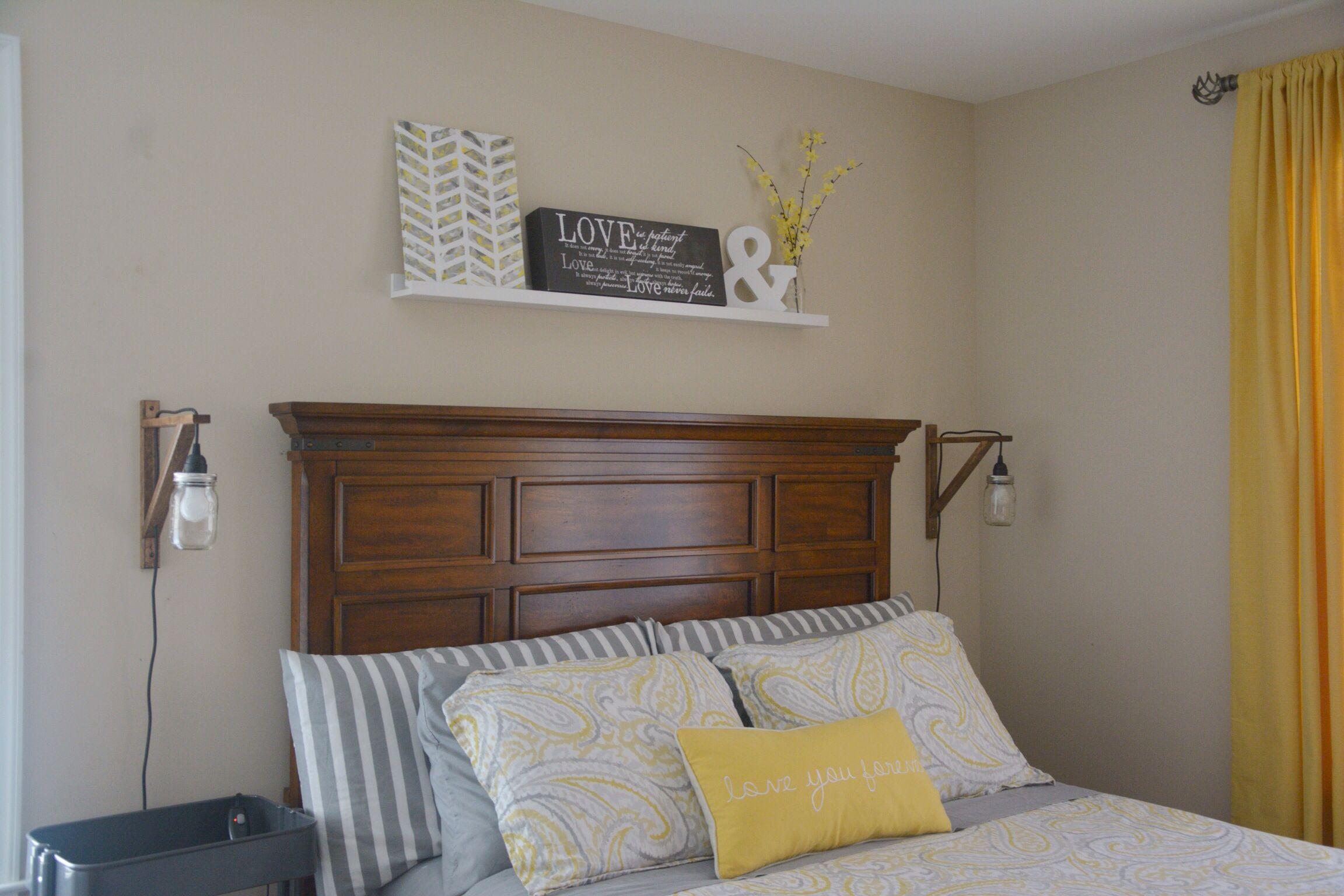 Diy Mason Jar Pendant Lights Shelf Above Bed Diy Painted