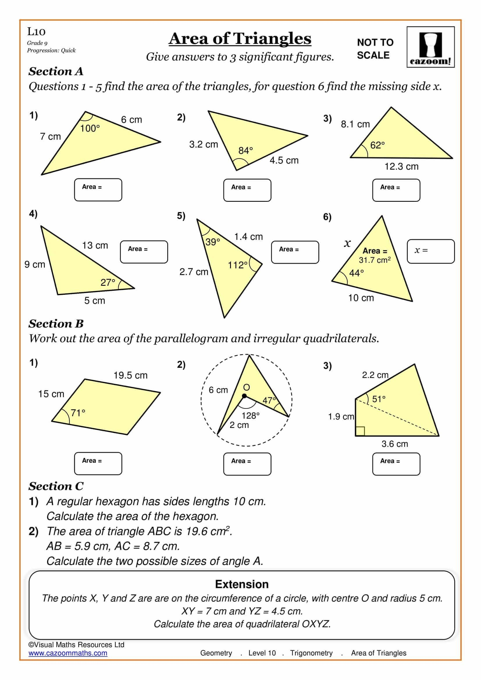 Introduction To Trigonometry Worksheet Answers Area Of Triangles Maths Worksheet Trigonometry Trigonometry Worksheets Math Worksheet