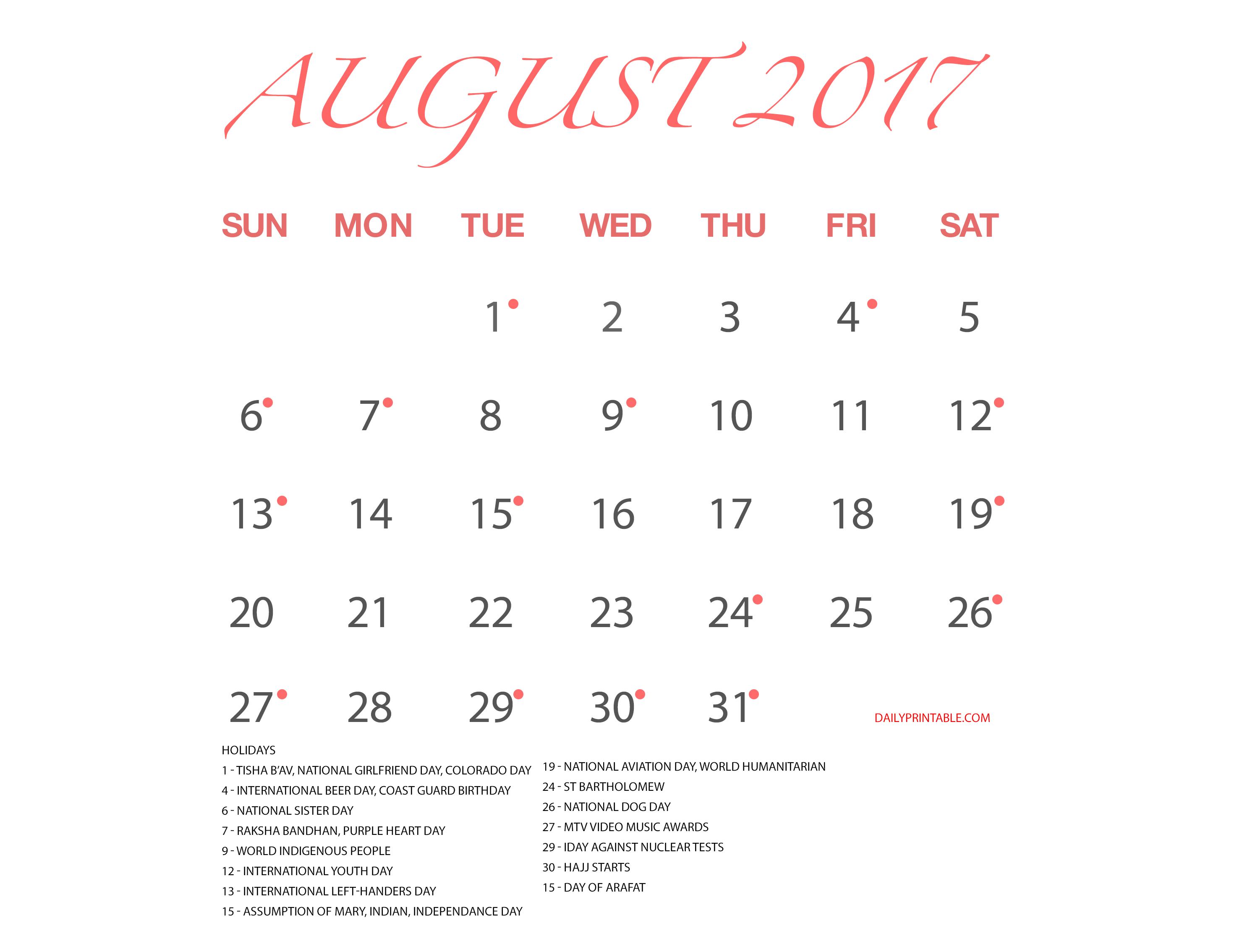 10 Best Free August Calendar Printable Amp Template