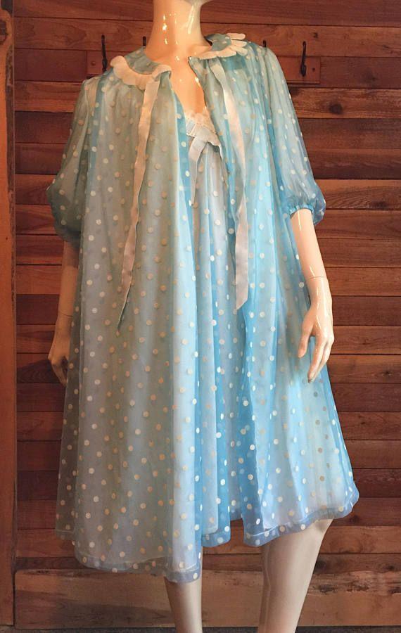 bd40a1056bd Vintage Lingerie 1960s ODETTE BARSA Blue Size Large Chiffon ...
