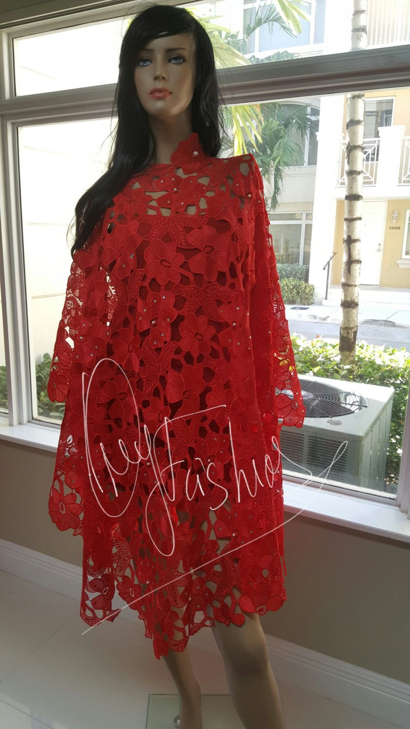 2f869ca934865 Red Stunning Luxury Kaftan handmade 100% Nigerian Heavy Guipure Lace  Wedding bride dress caftan by OmyFashions on Etsy