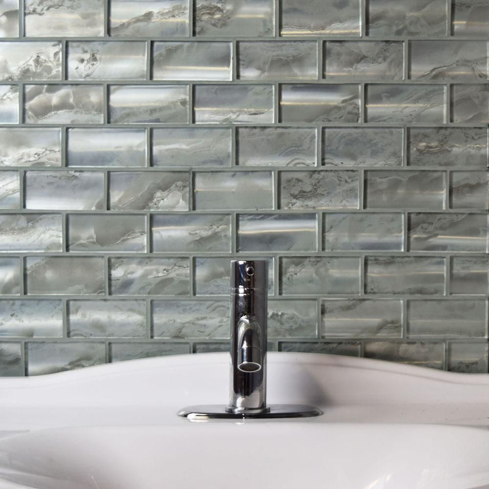 Merola Tile Sterling Super Subway Silver 11 3 4 In X 12 9 Mm Gl Mosaic High Sheen
