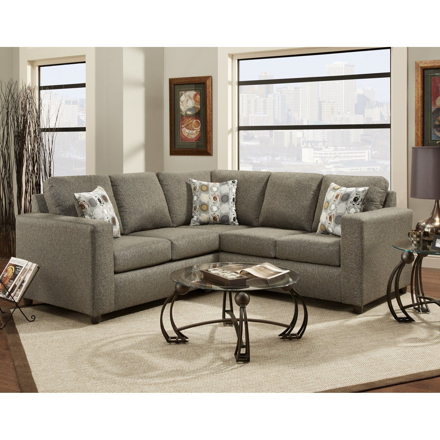 Vivid Onyx Fibric Sectional Sofa W/ 3 Pillows , Made In