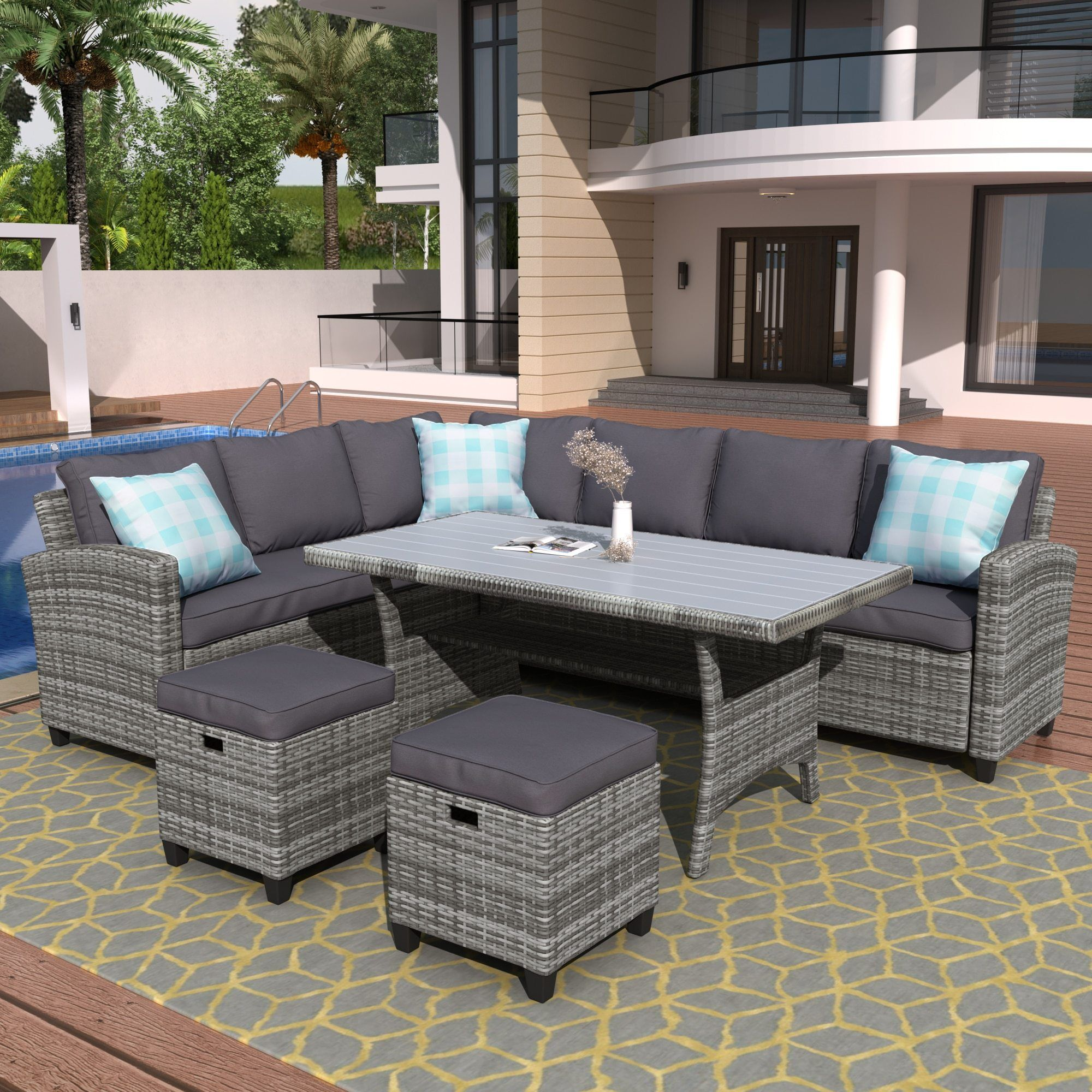 5 Pieces Outdoor Furniture Rattan Chair Table Patio Set Wicker Sofa With Ottoman In 2021 Patio Furniture Sets Outdoor Furniture Sets Wicker Sofa Outdoor