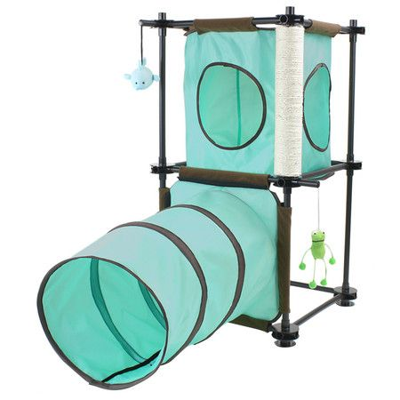 Perfect For Felines With A Sense Of Adventure This Free Standing Cat Tree Showcases A Fabric Play Tunnel 1 Fabric Cat Tree Plans Cool Cat Trees Cat Furniture
