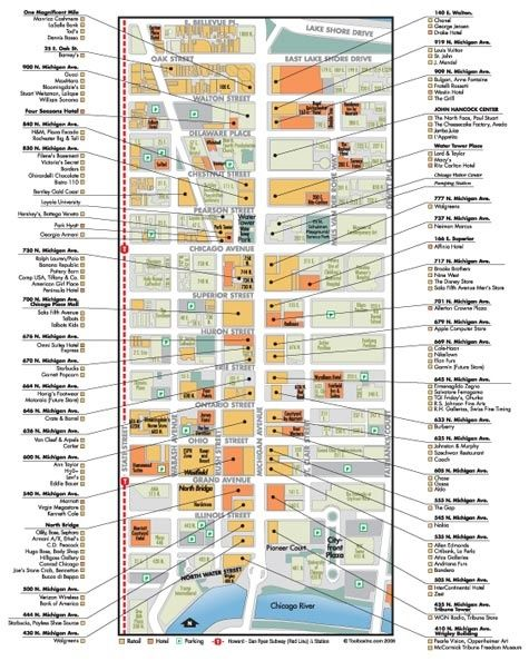 Map Of Magnificent Mile With Shopping Stores Map Of Shops