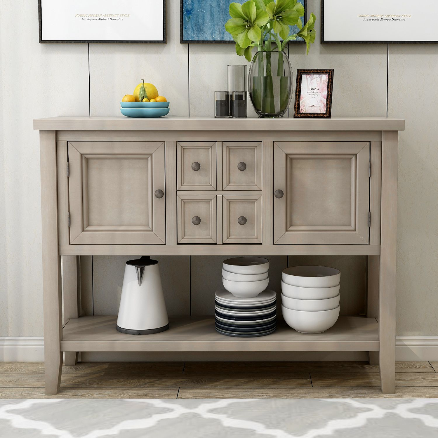 Buffet Cabinet Sideboard 46 Dining Room Console Table W 4 Storage Drawers 2 Cabinets 1 Bottom Shelf Buffet Server Cabinet Kitchen Console Table Home Furn Sideboard Console Table Dining Room Console Sideboard Console