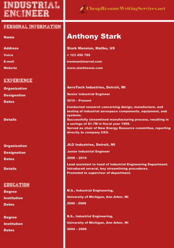 Great Sample Of Engineering Resume Cv Format Good Resume Examples Best Cv Formats