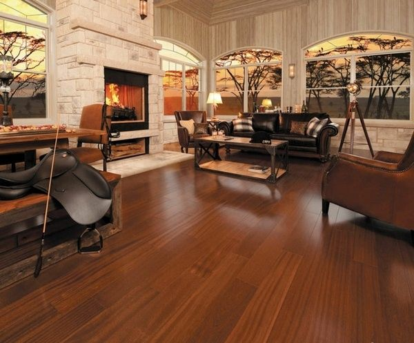 Mahogany Red Brown parquet floor fireplace cozy