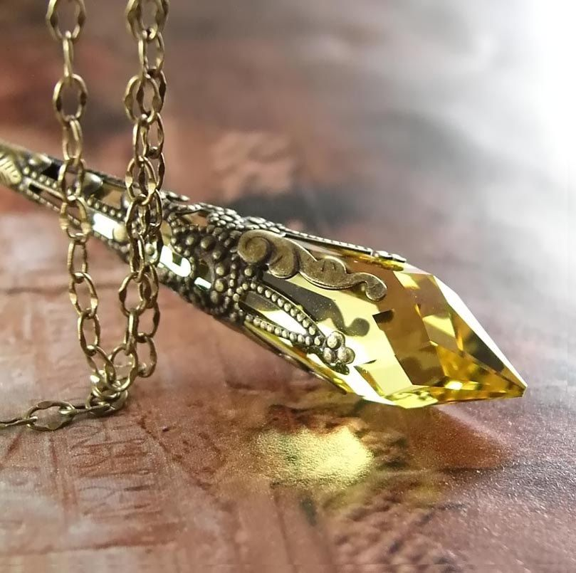 Crystal amber topaz necklace antique gold brass necklace golden citrine yellow necklace antique gold brass necklace swarovski yellow crystal pendant necklace golden topaz 3700 aloadofball Images