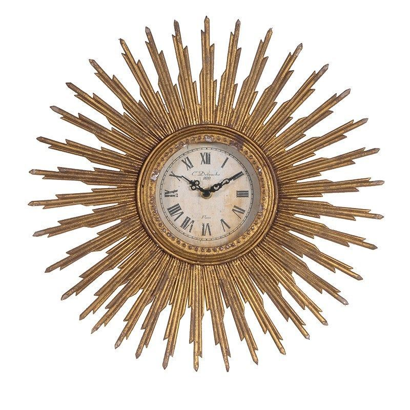 40cm Sunburst Gold Wall Clock Distressed Art Deco