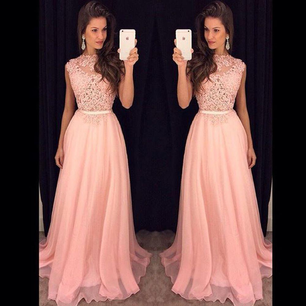 Blush pink prom dresseslace prom dresslong evening gownslace