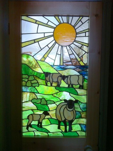 Sheep At Pasture Stained Glass Windows Stained Glass Patterns Stained Glass Quilt