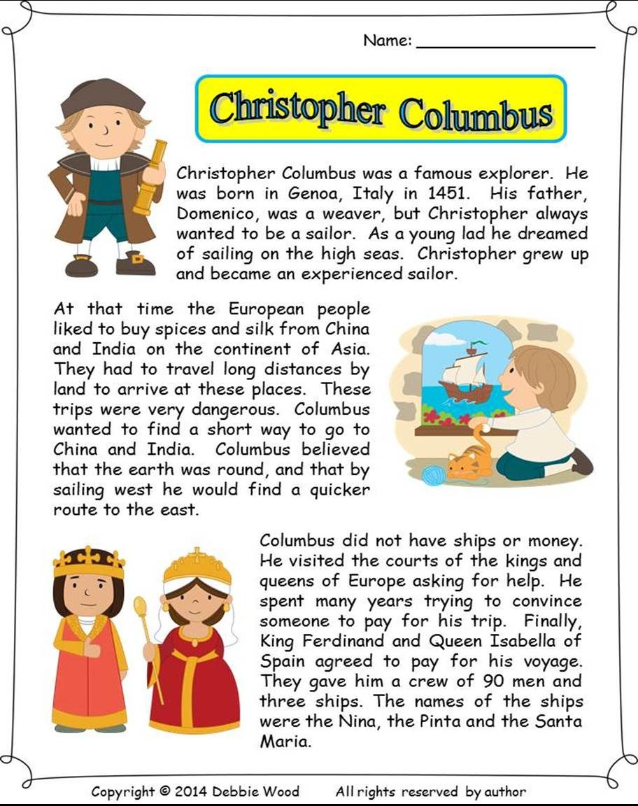 Christopher Columbus Reading/ Vocabulary Strip Story/ WH Questions/ Grammar  R…   Christopher columbus reading [ 1152 x 912 Pixel ]