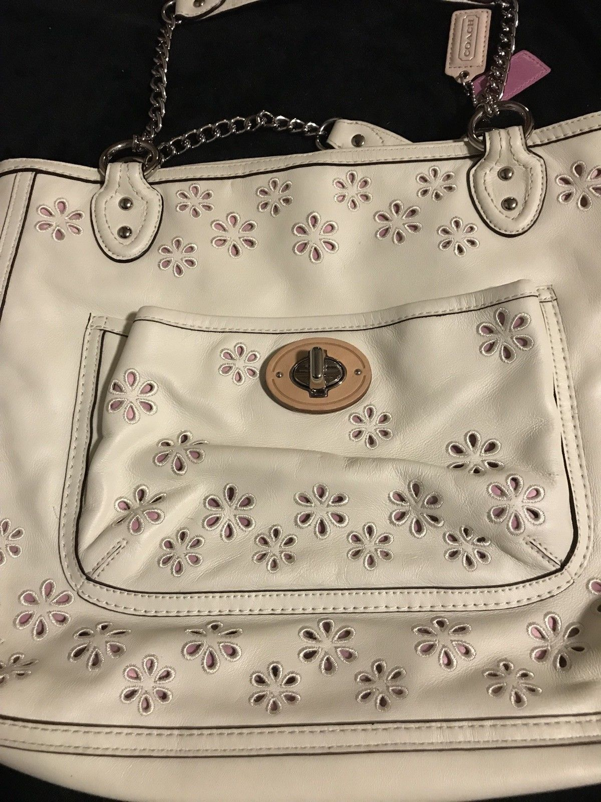 White creme leather laser cut pink flowers coach handbag coach white creme leather laser cut pink flowers coach handbag mightylinksfo