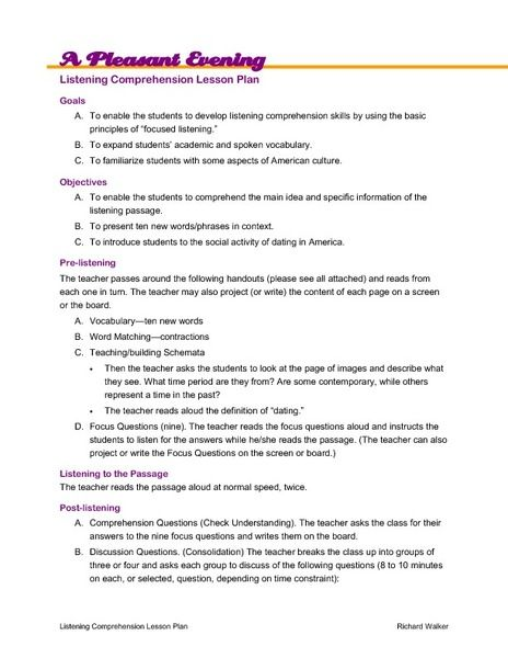 A Pleasant Evening: Listening Comprehension Lesson Plan Lesson Plan